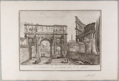 Arco di Costantino, veduto da ovest, a destra il Colosseo
