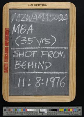 Mzwamadoda Mba (45 years), shot from behind, 11:8:1976