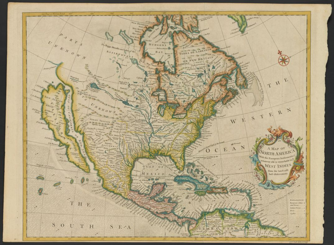 A Map of NORTH AMERICA With the European Settlements & whatever else is remarkable in ye WEST INDIES, from the latest and best Observations (1745).