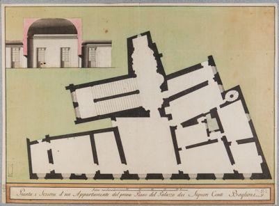Palazzo Baglioni, pianta e sezione parziale