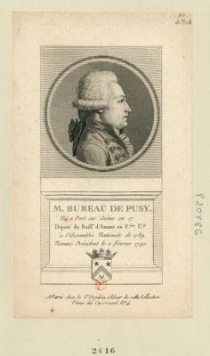 M. Bureau de Pusy né a Port sur Saône en 17[..] député du baill.e d'Amont en F.che C.té à l'Assemblée nationale de 1789, nommé président le 2 fevrier <em>1790</em> : [estampe]