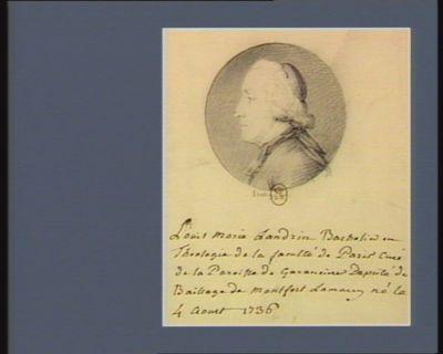 Louis Marie Landrin bachelier en theologie de la faculté de <em>Paris</em> curé de la paroisse de Garancière député du baillage de Montfort Lamaury né le 4 aout 1736 : [dessin]