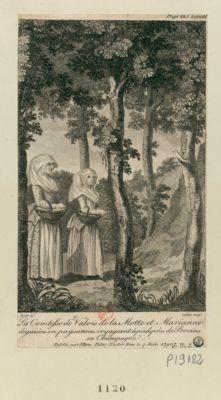 La  Comtesse de Valois de la Motte et Marianne déguisées en paysannes, voyageant à pied, près de Provins en Champagne : [estampe]
