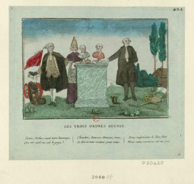 Les  Trois ordres réunis Louis, Neker [sic], reçoit notre hommage, que cet autel en soit le gage, Chantez, dansez amusez vous, Le Roi et nous sommes pour vous, Nous méprisions le tiers état Mais nous revenons sur nos pas : [estampe]