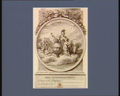 Talens et sagesse prix d'encouragement donné à la citoyenne [. ..] au concours de [...] : Institution des citoyennes Hurard à Rouen 1793 : [estampe]