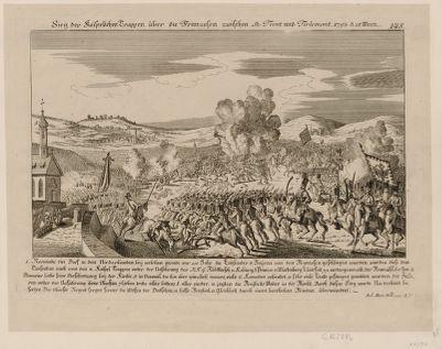 """Sieg der Kaiserlichen Truppen über die Franzosen zwischen St Tront und Tirlemont 1793 d. 18 Merz Nerwinde, ein Dorf in den Niederlanden, bey"""" welchem gerade vor 100 Jahr die Englender v. Bäyren von den Franzosen geschlagen wurden... : [estampe]"""