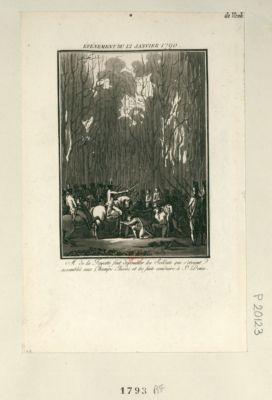 Événement du 12 janvier 1790 M. de la Fayette fait dépouiller les soldats qui s'étoient assemblés aux Champs Elisées et les faits conduire à St Denis : [estampe]