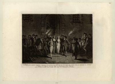 La  Princesse <em>Marie</em>-Thérèse-Charlotte fille du Roy <em>Louis</em> <em>XVI</em> part de Paris pour se rendre en Suisse accompagnée de <em>Madame</em> de Souci d'un officier de gendarmerie et autres personnes... : [estampe]