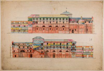 Piazza del Popolo. Caserma dei Carabinieri, prospetto e sezione