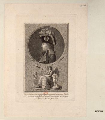 Le  General Buonaparte publié à l'occasion du passage de ce grand homme à Basle, le 24 novemb. 1797 pour se rendre au congrès de Rastadt : [estampe]