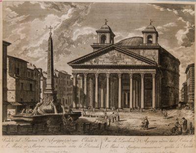 Veduta del Panteon d'Agrippa in oggi chiesa di S. Maria ad Martyres comunemente detto la Rotonda