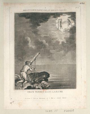 Decouverte faite par le cousin Jaques deux pendus dans la lune : [estampe]