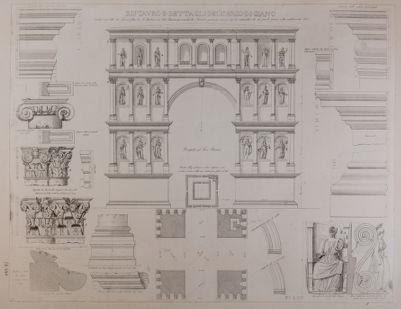 Arco di Giano, pianta, alzato e dettagli architettonici