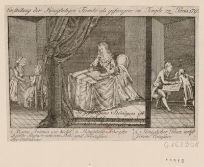 Vorstellung der königlichgen Familie als gefangene im Temple zu Paris <em>1793</em> 1. Maria Antonia wie höchst dieselbe seufzen um eine baldige Entlasung 2. Königliche schwester und Prinzessin 3. Koniglicher Prinz nebst seinem Commisair... : [estampe]