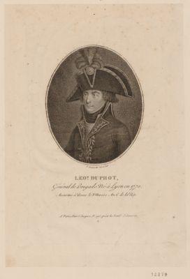 Leo.d Duphot, general de brigade né à Lyon en 1770 assassiné à Rome le 8 nivose an 6 de la Rép. : [estampe]
