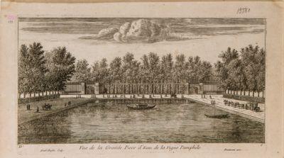 Veduta del grande specchio d'acqua della Villa Pamphili presso Roma dal lato dei giardini