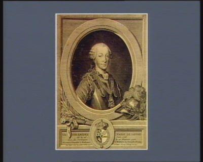 <em>Victor</em> Amedée Marie de Savoie né le 26 juin <em>1726</em> Roi de Sardaigne le 26 février 1773. Présenté à Versailles à Madame et Madame la comtesse d'Artois par leurs très humbles obéissant serviteur Bligny lancier du Roy : [estampe]