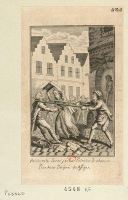 Aristocrate berné par les patriote brabançons pour avoir déchiré des affiches [estampe]