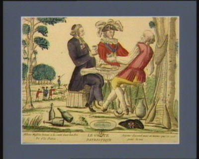 Le  Goute patriotique allons Messieu buvons a la santé d'not bon roi et d'la patrie, soyons d'accord mais au moins que ce soit pour la vie : [estampe]