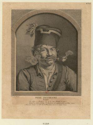 Pere Duchesne foutre sa colere se dissipe, quand on obéit à la loy ; et de joyë fumant sa pipe, Duchesne, est content comme un roy. Rouanet : [estampe]