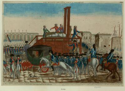 Mort de Louis Capet 16.e du nom, le 21 janvier <em>1793</em> le commandant général et les commissaires de la Commune sont montés à 8 heures 1/2 du matin dans l'appart.nt ou étoit Louis XVI.. : [estampe]