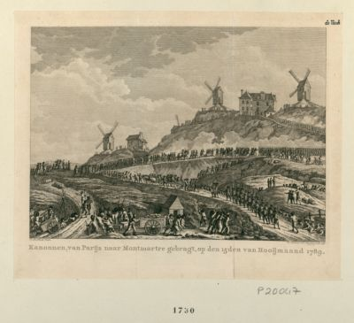 Kanonnen, van Parijs naar Montmartre gebragt [estampe]