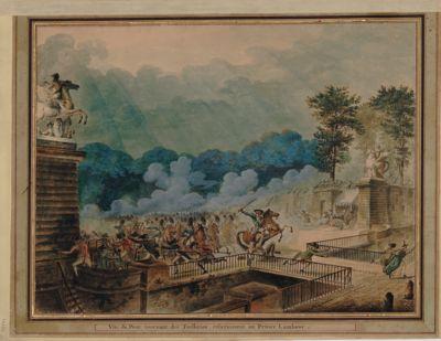 Vue du pont tournant des Tuilleries, relativement au prince Lambesc [dessin]