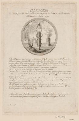 Allégorie du pacte fédératif <em>de</em> <em>la</em> nation armée pour <em>la</em> liberté et <em>la</em> constitution à Paris le 14 juillet 1790 cette allégorie est représentée par un faisceau, qui signifie toutes les armes <em>de</em> <em>la</em> France réunies... : [estampe]