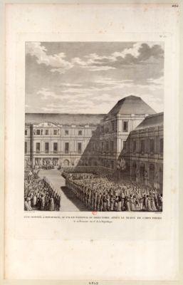 Fête donnée à Bonaparte, au Palais national du Directoire après le traité de Campo Formio le 20 frimaire an 6.e de la République : [estampe]