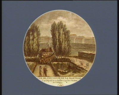 Vue de l'enceinte de la Bastille ou l'on déposa le 10 juillet 1791 les cendres de Voltaire reçois en ce lieu où t'enchaîna 2 fois le despotisme, les honneurs que te rend la patrie... : [estampe]