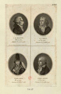 L.M. Pelletier J.P. Marat ; Joseph Barat ; Joseph Chalier : né en 1760, assassiné le 20 janv. 1793 : né en 1743, assassiné le 13 juillet 1793 : né en 1780, assassiné le 5 déc.bre 1793 : né en 1747, assassiné le 16 juillet 1793 : [estampe]