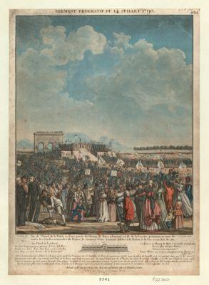 Serment federatif du 14 juillet 1790 vue de l'autel de la patrie et d'une partie du Champ de Mars à l'instant où M. de La Fayette prononça au nom de toutes les Gardes nationales de France, le serment d'être à jamais fideles à la nation à la loi et au Roi &c. &c... : [estampe]