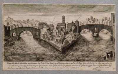 Isola Tiberina, veduta generale con i ponti Fabricio e Cestio