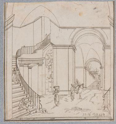 Palazzo Barberini, scala interna a chiocciola ellittica e vestibolo