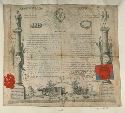 Assemblée nationale séance du samedi dix neuf juin 1790. Décret en faveur des citoyens qui se sont distingués à la prise de la Bastille... : [estampe]