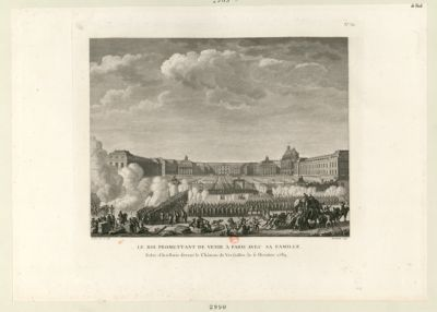 Le  Roi promettant de venir à <em>Paris</em> avec sa famille salve d'artillerie devant le Château de Versailles, le <em>6</em> octobre <em>1789</em> : [estampe]