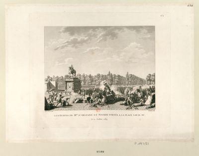 Les  Bustes de Mrs d'Orléans et Necker portés à la place Louis XV le 12 juillet 1789 : [estampe]