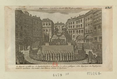 Amphitheâtres d'enrôlement dressés dans les places publiques le dimanche 22 juillet 1792, les amphiteâtres furent dressés dans les places publiques.. . : [estampe]