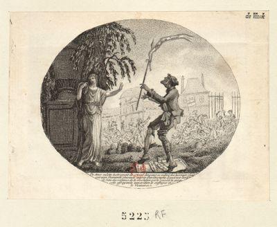 Un sans-culotte, instrument de crimes dansant au milieu des horreurs [estampe]