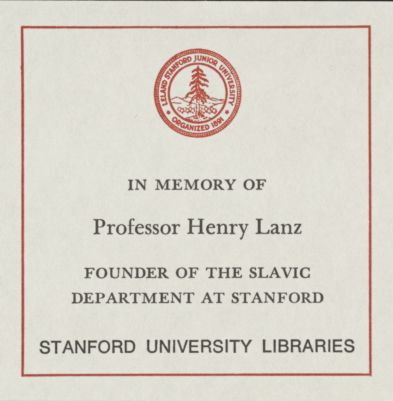 Professor Henry Lanz Memorial Book Fund