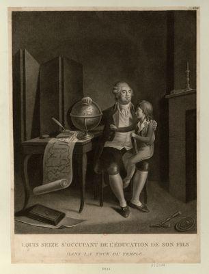 Louis seize s'occupant de l'éducation de son fils dans la tour <em>du</em> <em>Temple</em> dédié aux fidèles Français... : [estampe]