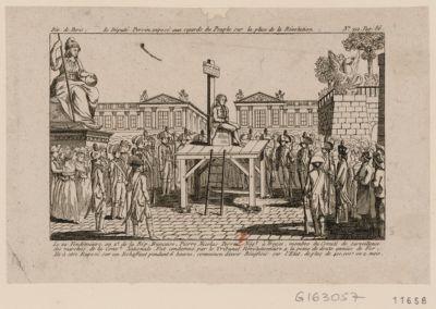 Le  Député Perrin exposé aux regards du peuple sur la place de la Révolution le 29 vendemiaire, an 2.e de la Rép. française, Pierre Nicolas Perrin... : [estampe]