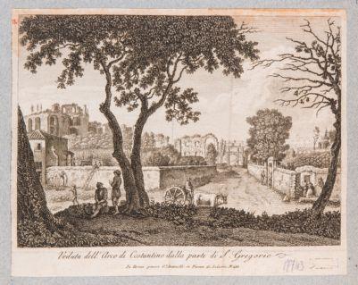 Palatino visto dalla via di S. Gregorio con sfondo dell'Arco di Costantino