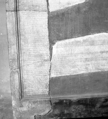 Fragment of the Acta Ludorum Saecularium inscription discovered near Ponte Vittorio Emanuele