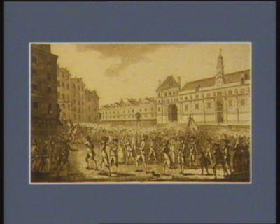 Vue de la lenterne de la place de Greve le courage des heroïnes françaises passant le 6 octobre 1789 devant l'Hôtel de Ville et faisant porter devant elles les têtes de deux gardes du corps... : [estampe]