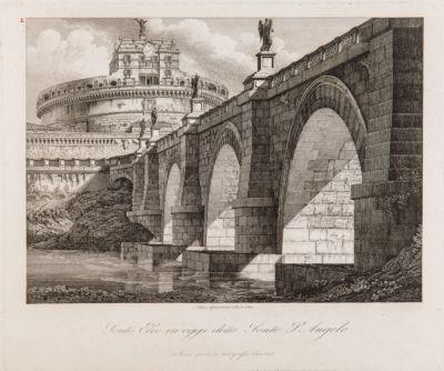 Ponte Milvio, veduta di scorcio con sfondo di Castel S. Angelo