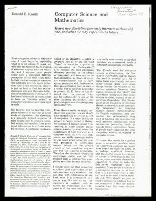 Computer Science and Mathematics