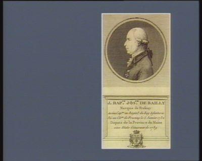 J. Bap.te Jos.ph de Bailly marquis de Fresnay ancien cap.ne au régim.t du Roy infanterie. Né au ch.au de Fresnay le 5 janvier 1732 député de la province du Maine aux Etats géneraux de 1789 : [estampe]