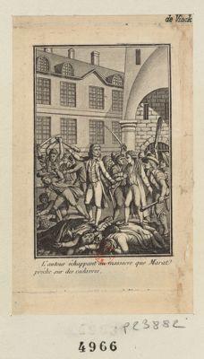 L' auteur échappant au massacre que Marat préche sur des cadavres [estampe]
