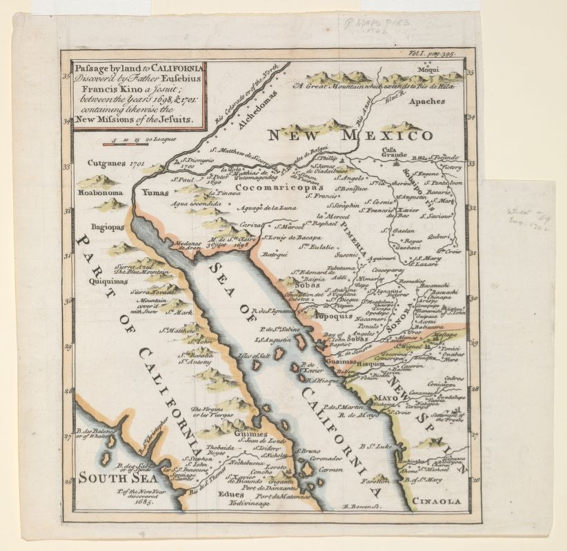 Eusebio Kino: Passage by land to California. Discovered by Father Eusebius Francis Kino, a Jesuit, between the years 1698 & 1701 containing likewise the New Missions of the Jesuits.